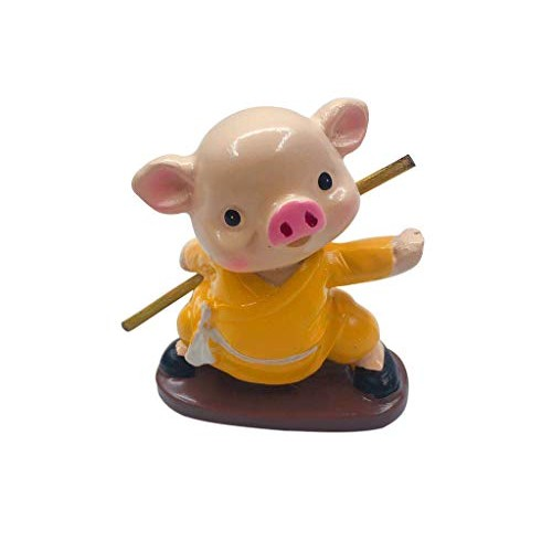 Binory 4PCS Solar Powered Kung Fu Pig Dancing Swinging Animated Office Desk Window Dancer ToyCar Windowsill Decoration New Selling Novelty Action Figures Toys Birthday Gift for Kids Adults C