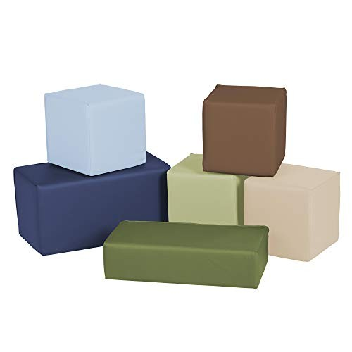 FDP SoftScape Stack-a-Block Big Foam Construction Building Blocks Soft Play Set for Toddlers and Kids 6-Piece Set – Earthtone