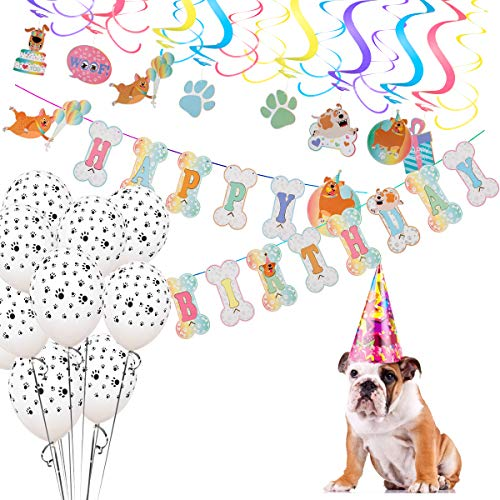 Mewtogo Dog Party Decorations- 16 Pcs Hanging swirls 10Pcs Paws Print Round Latex Balloons and Happy Birthday Banner for Pet Doggy Puppy Supplies