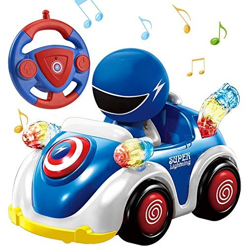 NQD Remote Control Car for Toddlers RC Cartoon Race Car with Music and Lights