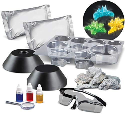 Discovery Kids 25-Piece Lab Crystal Growing Kit Includes Mold Shapes & LED Light Display Stand