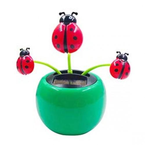 Potato001 Funny Solar Power Dancing Car Decor Creative Plastic Ladybug Ornament Flip Flap Pot Swing Kids Toy