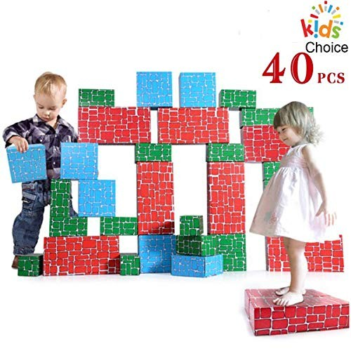 WishaLife Cardboard Blocks40pcs Building Blocks Extra-Thick Jumbo Stackable Bricks in 3 Size for Toddlers Kids