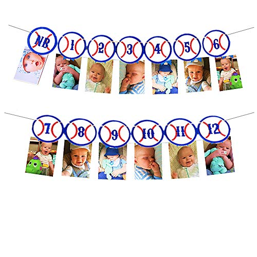 LaVenty Baseball 12 Month Picture Banner Monthly Photo First Year Birthday Decoration Milestone Supplies Baby Shower