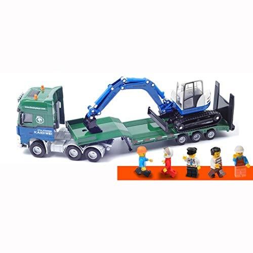 LLSDLS Children's Toy Alloy Engineering Car Model 1 50 Flatbed Trailer with Excavator Transport Semi-Trailer