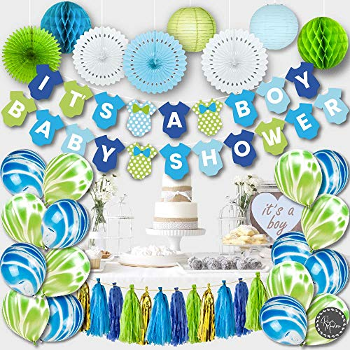 PREMIUM Baby Shower Decorations for Boy Kit Set IT'S A Banner Paper Lanterns Honeycombs Tissue Fans Tassels Marble Balloons Blue Gold Green White