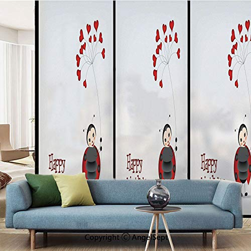 AngelSept Window Films Privacy DecorateLadybug Wings Flower Inspired Heart Shaped BalloonsW157xL63infor Home OfficeRed Black and White
