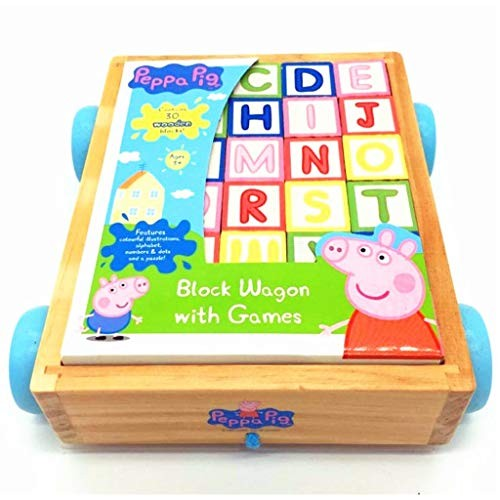 BJLWTQ Children Classic ABC Wooden Building Block Cart Kids Puzzle Educational Toy with 30 Solid Wood Blocks