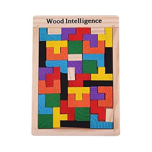 BJLWTQ Baby Creative Educational Toy Wooden Tetris Blocks Tangram Building Montessori Block Intelligence Toys