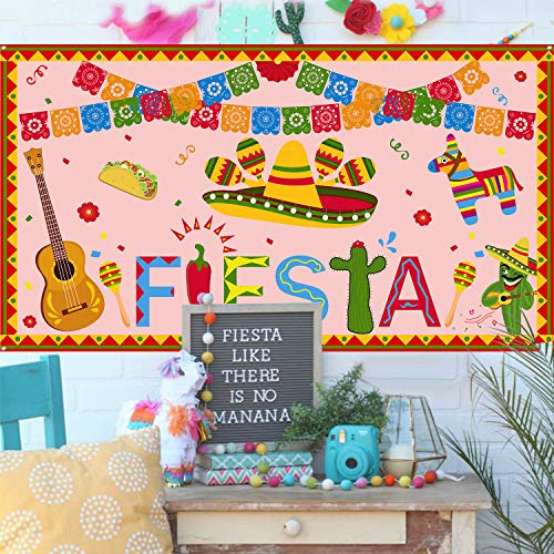 Mexican Fiesta Party Banner – Extra Large Fabric 70 x 40- Theme Backdrop Decorations Supplies Cinco De Mayo Birthday Bachelorette Baby Shower Photo Decor