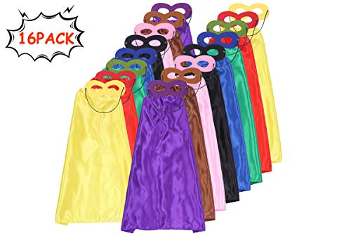 Superhero Capes for Kids and Masks Set DIY Costume Dress Up Birthday Party Supplies 32 Pcs 16 Sets