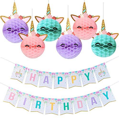 Unicorn Party Decoration Happy Birthday Banner with Honeycomb Balls for Girls Supplies -Golden Glitter Design