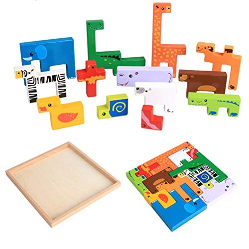 Toyvian 1 Set Wooden Animal Building Blocks Baby Educational Toy DIY Puzzle Jigsaw for Kids Children