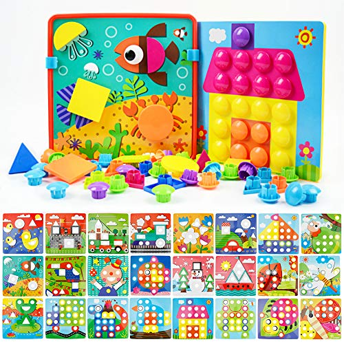 JoyGrow Button Art Toys Color and Geometry Shape 2 in 1 Matching Mosaic Pegboard Early Learning Educational Toy for Boys Girls