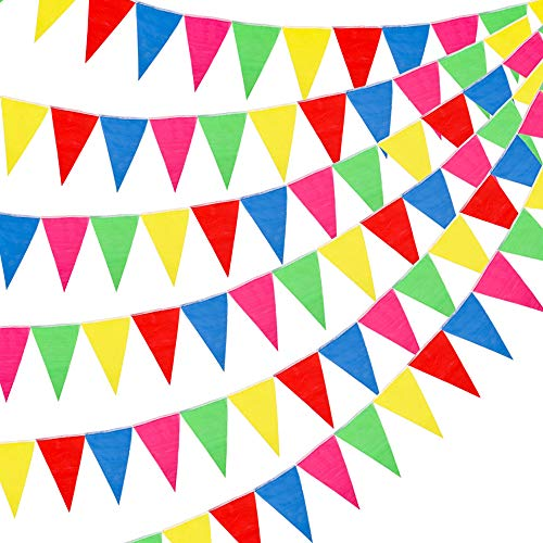 RUBFAC 1020ft 720pcs Colorful Flag Pennants Multicolor Rainbow Pennant Banner Nylon Cloth for Grand Opening Party Celebrations