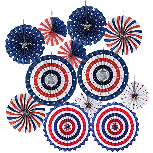 4th Fourth of July Patriotic Ddecorations -Red White Blue Hanging Paper Fans for American Independence Day Party Decor Supplies Set 12