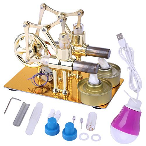 HMANE Metal Hot Double Cylinder Stirling Engine Model Bulb External Combustion Heat Steam Power Physics Science Experiment