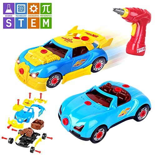 AOKESI Take Apart Toy Racing Car Toddler Construction Kit for Boys and Girls Build Your Own Version STEM