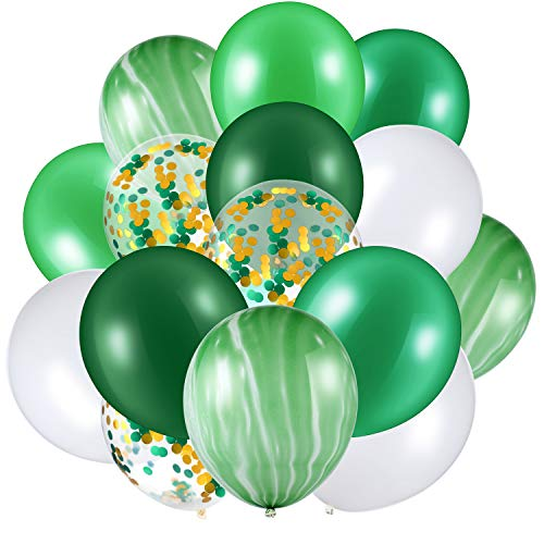 60 Pieces 12 Inch Agate Latex Balloons Confetti Colorful for Jungle Baby Shower Wedding Office Birthday Party Supplies Green White