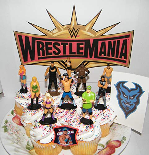 WWE Wrestling Deluxe Cake Toppers Cupcake Decorations Set of 12 with 10 Figures Tattoo FingerRing Featuring John Cena Alexa Bliss and Many More