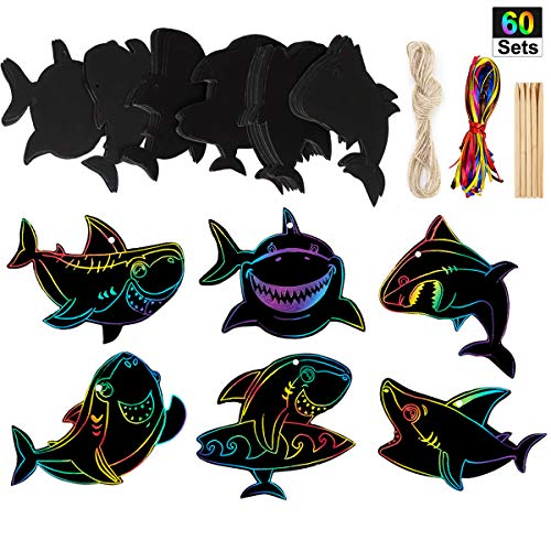 60 Set Shark Scratch Rainbow Tags Magic Paper for Birthday Party Supplies