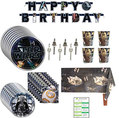Star Wars Birthday Party Supplies Pack Lunch Plates Dessert Cups Napkins Table Cover Banner Candles – 16 Guests
