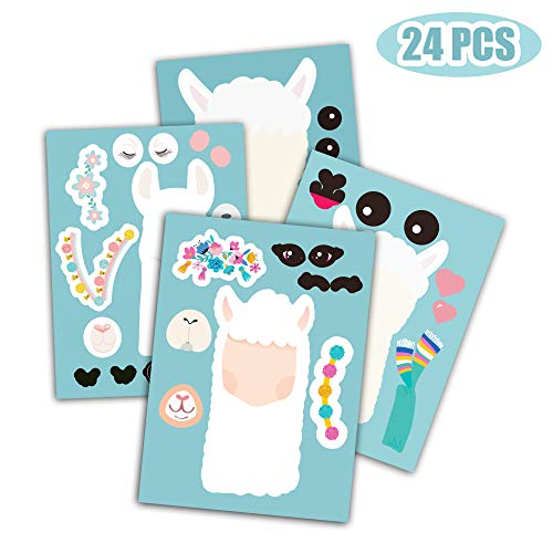 Happy Storm Llama Sticker 24PCS Make A Party Games for Kids Supplies Themed Birthday Favor