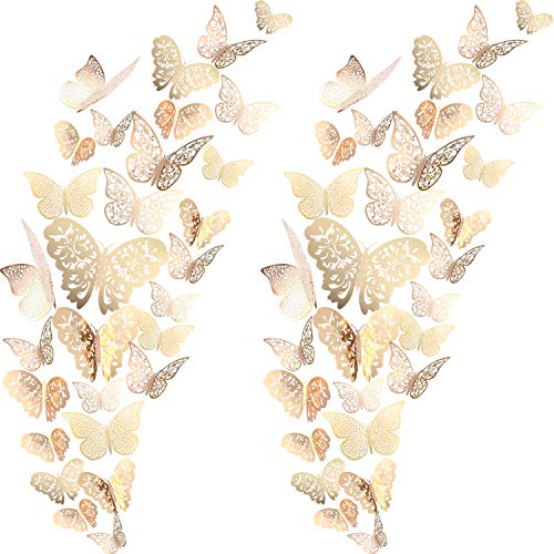 72 Pieces 3D Butterfly Wall Decals Sticker Decal Decor Art Decorations Set 3 Sizes for Room Home Nursery Classroom Offices Kids Girl Boy Bedroom Bathroom Living Decor Champagne Gold