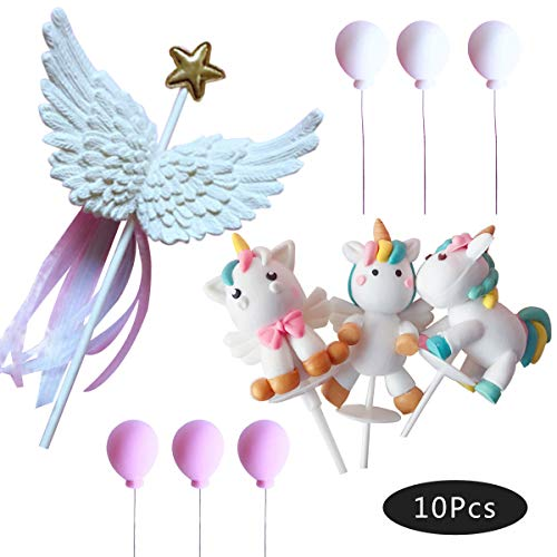 Unicorn Wing and Balloon Cake Toppers Kit Set Of 10 Kids Girls Rainbow Birthday Party Supplies Baby Shower Decorations
