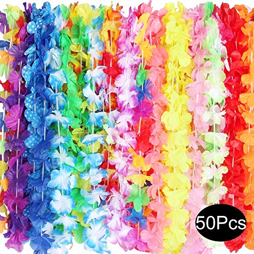 Outee 50 Pcs Hawaiian Leis Luau Birthday Party Decorations for Adults Silk Flower Supplies Tropical Necklaces Kids 25 Colors