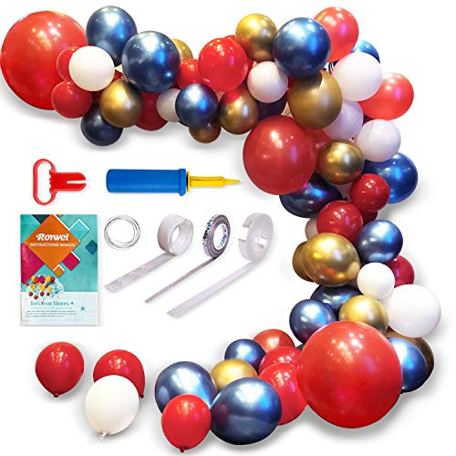 Roywel Party Supplies Decorati Balloons for PartiesGarland Latex Balloon Arch Ganland Kit Red Blue Gold White Baby Showers Weddings Graduations Corporate Events Engagements