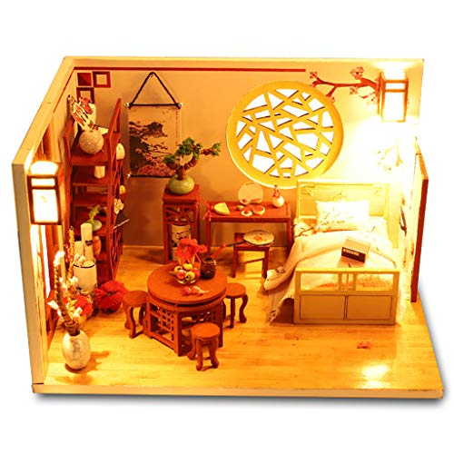 Jonerytime3D Wooden DIY Miniature House Furniture LED Puzzle Decorate Creative Gifts