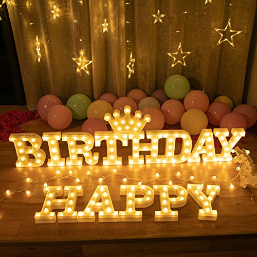 HAPPY BIRTHDAY-Brightown Decorative Plastic LED Marquee Letter Light Up Letters Sign Birthday Party Night Home Decoration Battery Operated