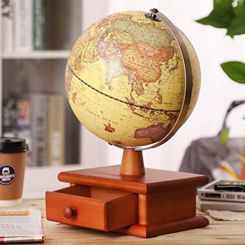 BoTaiDaHong 9 inch World Globe+Wooden Drawer BaseLuxe Vintage Illuminated LEDWorld Globe Antique Decorative DesktopGlobe Rotating Earth GeographyGlobe Educational for Kids