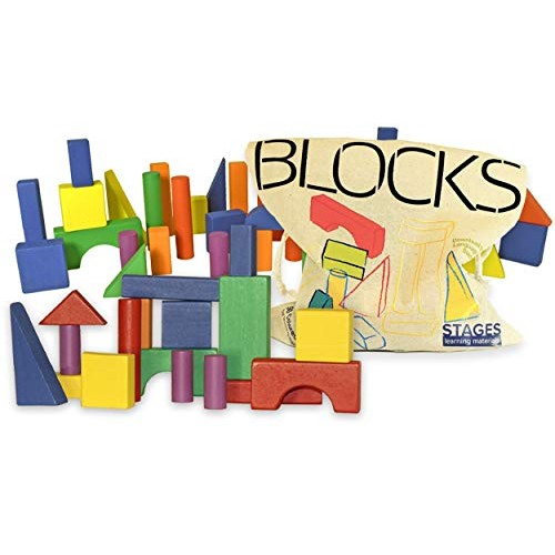 Stages Sensory Builder 50-Piece Colored Wooden Blocks in Canvas Storage Bag Learning Materials