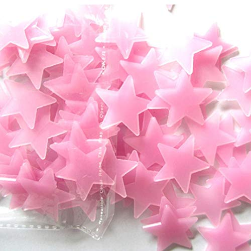 100 Pcs Pink Glow in The Dark Luminous Stars Fluorescent Noctilucent Plastic Wall Stickers Murals Decals for Home Art Decor Ceiling Decorate Kids Babys Bedroom Room Decorations