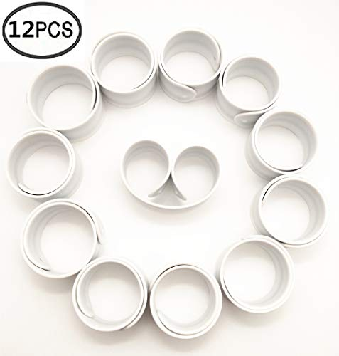 LEEUEE 12 Pack Slap Bracelets for Kids Silicone White Bracelet Wristband Birthday Party Favors Girls and Boys Blank DIY Crafts White
