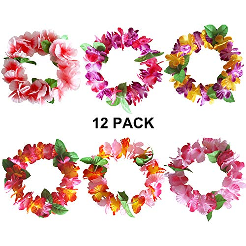 Hawaiian Leis Luau Tropical Headband Flower Crown Wreath Headpiece Wristbands Women Girls Floral Necklace Bracelets Hair Band For Summer Beach Vacation Pool Party Decorations Favors Supplies 12 Pack
