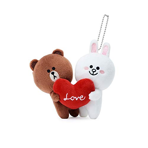 Line Friends Brown and Cony 55 Couple Plush Doll Set Ball Chain Keyring