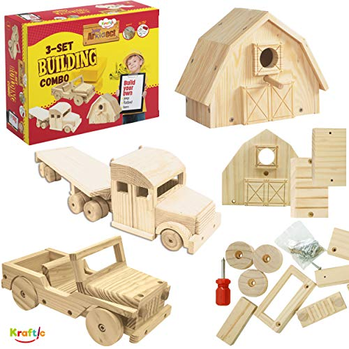 Kraftic Woodworking Building Kit for Kids and Adults with 3 Educational DIY Carpentry Construction Wood Model Toy Projects – Jeep Flatbed Barn