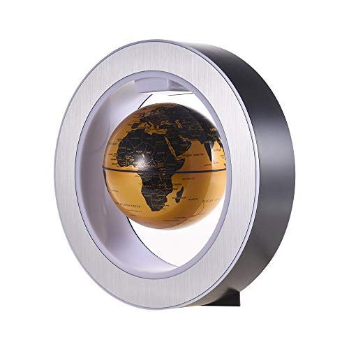 Magnetic Suspension Globe Round Base Touch Illumination 360 Degree Automatic Rotation Home Office Decoration Creative GiftsGold