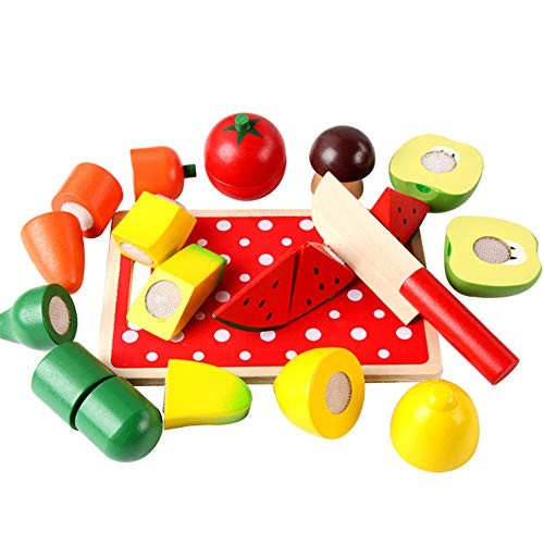 YZH LLC Fruit Building Blocks Cutting Toys Children's Wooden Play House Toys Simulation Cut Hand Eye Coordination Parent-Child Exchange Interactive Toys