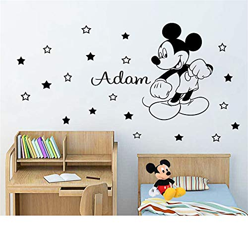 Wikaus Mickey Minnie Mouse Wall Art Decal Sticker Vinyl Personalized Name Boy Decorate for Kids Room Decor