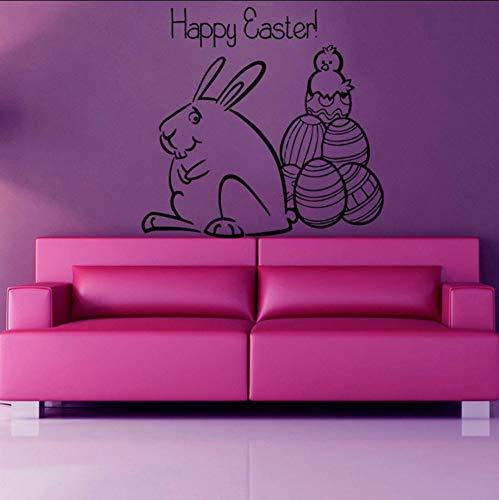 yhjxcs Cartoon Rabbit Wall Decals Happy Easter Cute Animal Sticker for Kids Room Bedroom Decorate Art Vinyl Stickers Mural 43x43CM