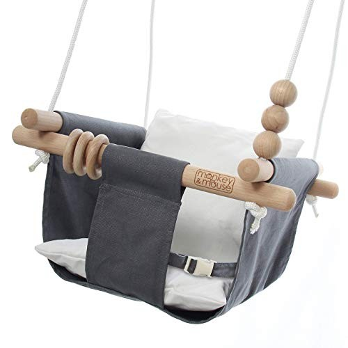 Monkey & Mouse Secure Canvas and Wooden Hanging Swing Seat Chair with Baby Infant