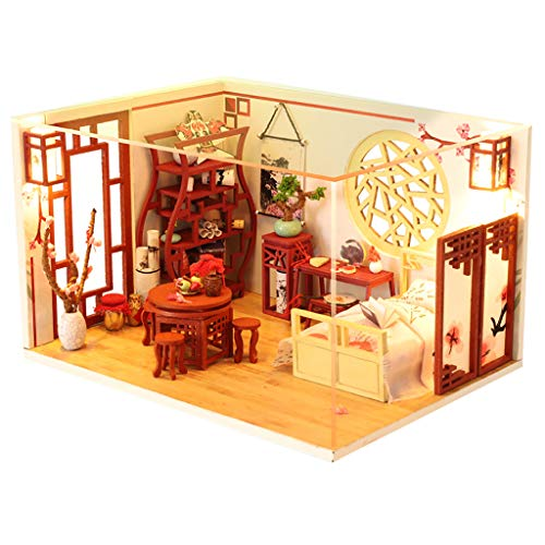 Binory Classic Bedroom 3D Wooden DIY Miniature House Furniture with LED LightMiniature Scene Dollhouse Handcrafts Puzzle Assembly Toys ModelHome Decorate Creative Birthday
