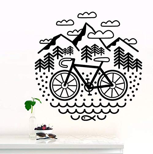 yhjxcs Bicycle and Mountains Wall Stickers for Nursery Bedroom Art Decor Vinyl Cycling Decals Living Room Decorate Murals 56x56CM