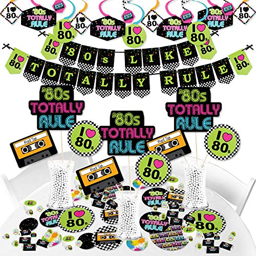 Big Dot of Happiness 80's Retro – Totally 1980s Party Supplies Banner Decoration Kit Fundle Bundle