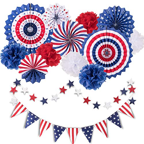 Whaline 14Pcs Patriotic Party Decorations Set 4th of July American Flag Supplies Hanging Paper Fans Flower Balls Star Streamers USA Pennant Bunting Favors