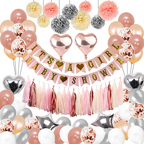 Baby Shower Decorations For Girlthe Party Supplies include 108Pcs Banners Paper Pompoms Heart-type Balloons Pentagram Rose Gold Tassels Color Ribbon Balloon Straw Girls
